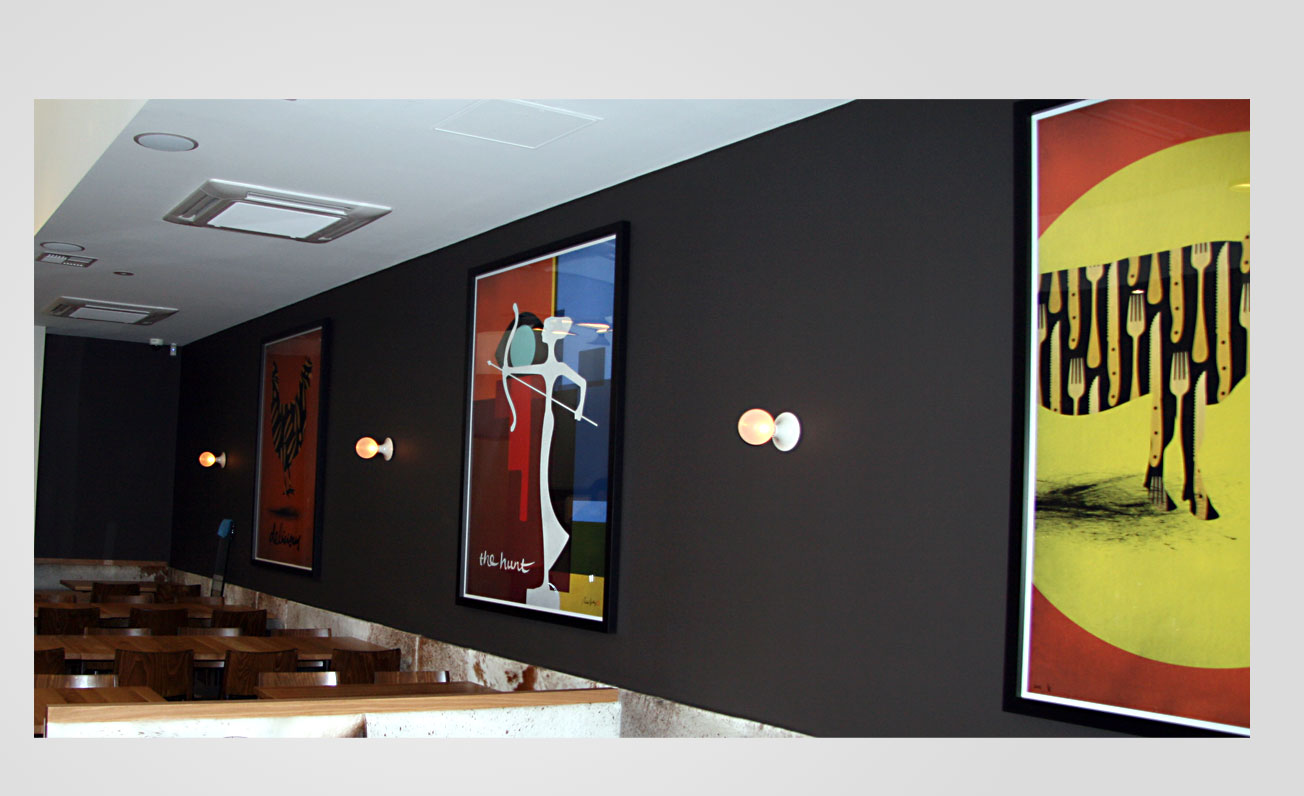 restaurant interior wall art by girling design