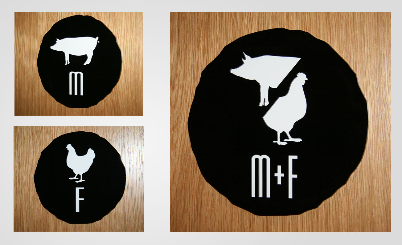 wb signage for rest rooms graphic design services