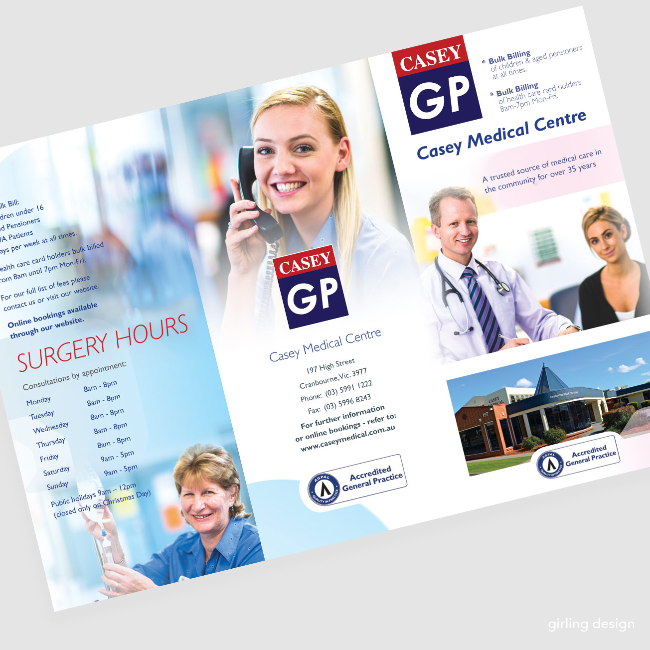 medical facilities brochure DL format girling design
