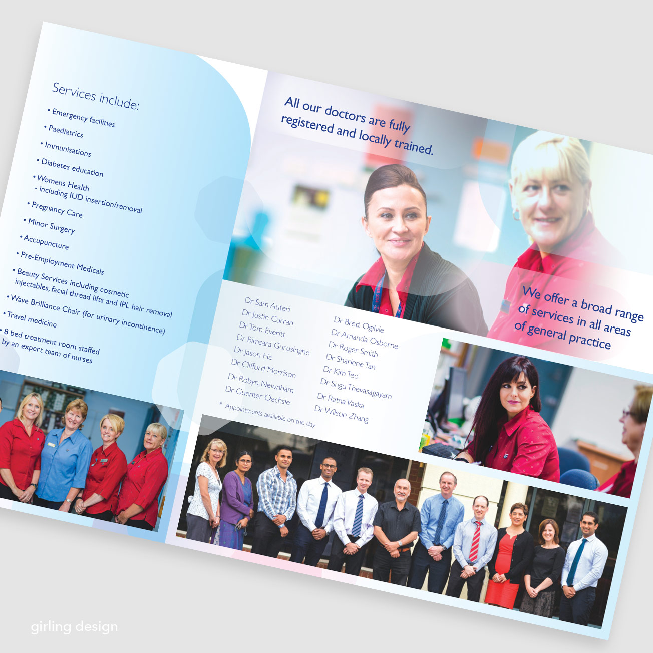 medical facility brochure DL format girling design